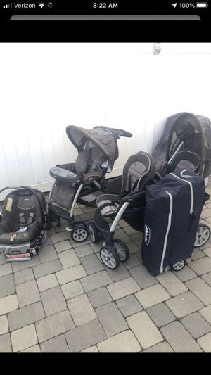 Chico double stroller, single stroller, car seat that fits strollers and Chicco pack and play for Sale in Keyport, NJ