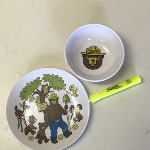 Vintage Smokey The Bear Child's Plate And Bowl for Sale in Henderson, NV