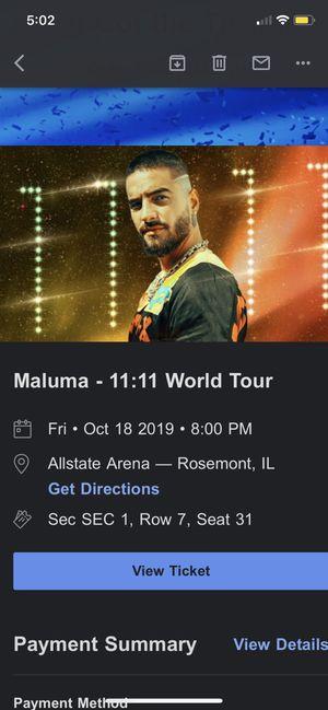 Maluma Ticket Chicago for Sale in Stickney, IL