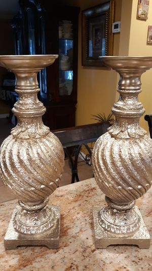 Gold Pillar Candle Sticks Wedding Decor for Sale in TEMPLE TERR, FL