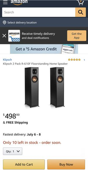 Klipsch 2 Pack R-610F Floorstanding Home Speaker - Brand new in box for Sale in Houston, TX