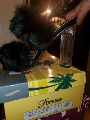 Women's black fur heels for Sale in Las Vegas, NV