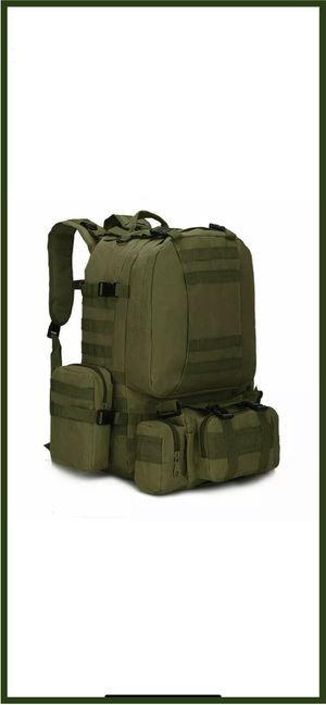 55L Outdoor Military Green Tactical Bag Camping Hiking Trekking Backpack Multi-Purpose for Sale in Ontario, CA
