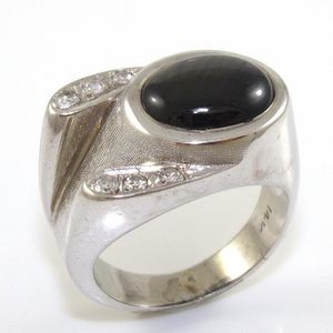 00dd31cf6281e 14k star sapphire diamond men ring for Sale