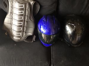 Motorcycle equipment and icon helmets. Leather vests has been sold. for Sale in Plainfield, IL