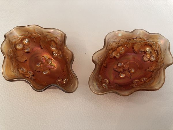 2 Marigold Iridescent Carnival Glass Candy Dishes