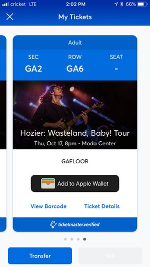 Two Hozier pit passes 10/17/19 for Sale in Portland, OR