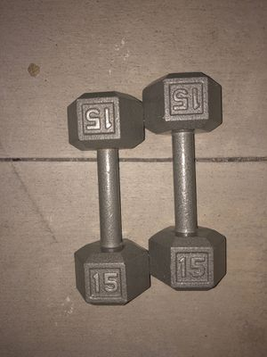 15 pound dumb bells free weights for Sale in Huntington Beach, CA