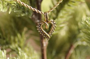 14k yellow gold heart pendant and 14k rope necklace for Sale in Great Falls, MT