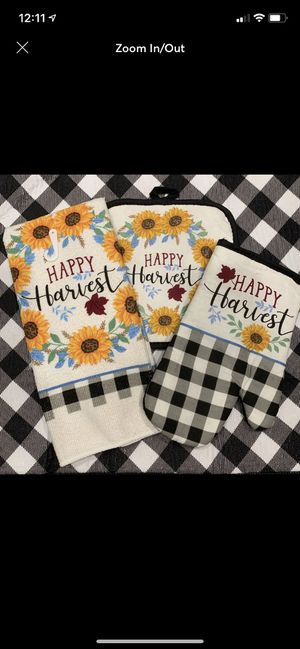 Happy harvest sunflower kitchen towel set for Sale in Covington, LA