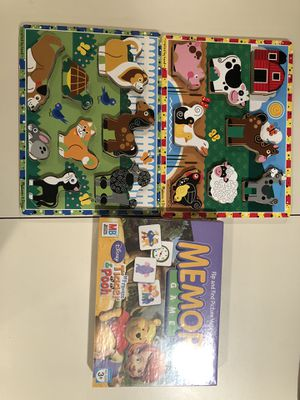 Melissa and doug 2 animal puzzles new memory game for Sale in Cumberland, RI