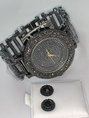 22k stainless steel watch & earring set created with lab diamonds for Sale in Las Vegas, NV