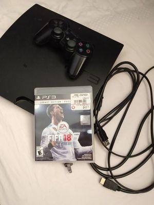 Ps3 con todos sus asesorios y un juego FIFA 18 for Sale in Rockville, MD