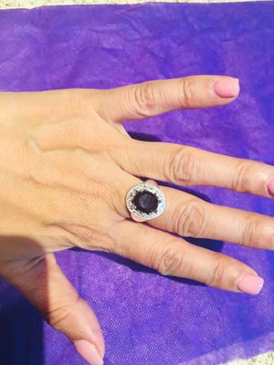 Crystal Purple Cubic Zircon 925 Sterling Silver Plated Ring New Design size 7 $5 for Sale in Avondale, AZ