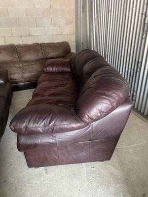 Dark Brown Cherrywood Leather Sofa for Sale in San Antonio, TX