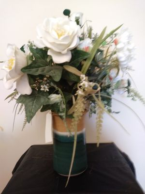 White Flowers with Hand Tossed Ceramic Vase for Sale in Largo, FL