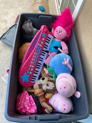 Bin full of stuffed animals and kids keyboard. FREE! Bin included. for Sale in Long Beach, CA
