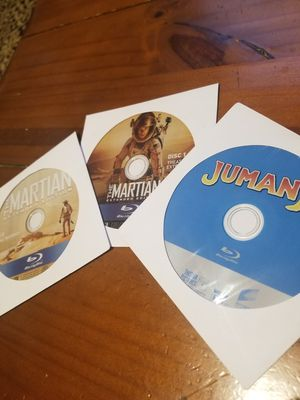 Blu rays there is 2 the martian has a bonus disk and jumanji movie( original) for Sale in Cleveland, OH