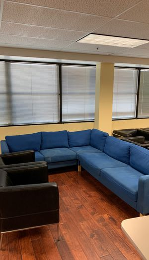 Large Blue Fabric Sectional Sofa Couch for Sale in Beverly Hills, CA