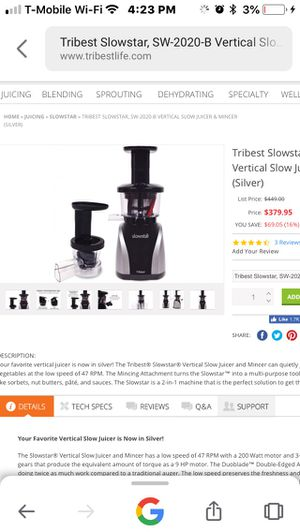 Tri-Best Slowstar Masticating Juicer for Sale in Lodi, CA