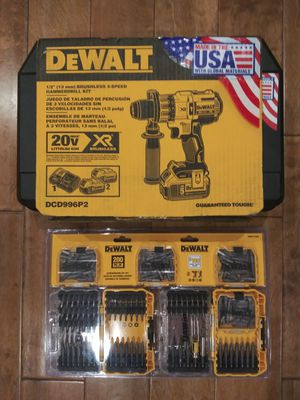 DEWALT 20-Volt MAX XR Lithium-Ion Cordless Premium Brushless Hammer Drill with (2) Batteries 5.0Ah, Charger and Hard Case with free bits for Sale in Montrose, CA