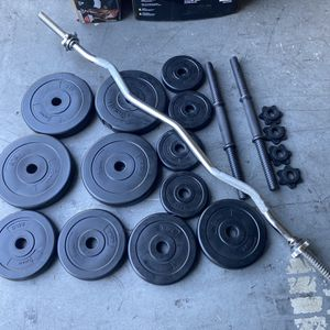Dumbbells weights curl bar for Sale in Santa Ana, CA