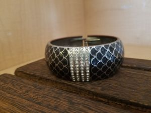 Metal Bangle Rhinestone and Black Scaled Bracelet for Sale in Hubbard, OR