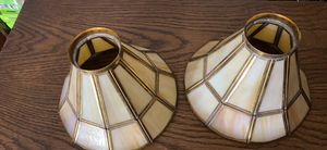 2 yellow beige slag glass bell shaped l a m p shades stained glass for Sale in Dallas, TX