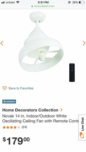 Home Decorators Collection Novak 14 in. Indoor/Outdoor White Oscillating Ceiling Fan with Remote Control for Sale in Houston, TX