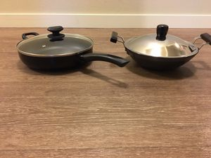 Cooking pan + wok with lids for Sale in Redmond, WA