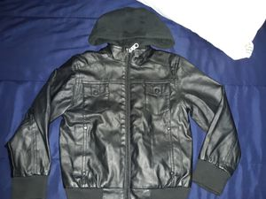 Black leather hoodie jacket size Small 6-7 for Sale in Tampa, FL
