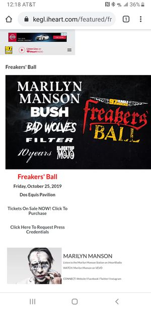 Freakers Ball Ticket VIP Box 12 for Sale in Irving, TX