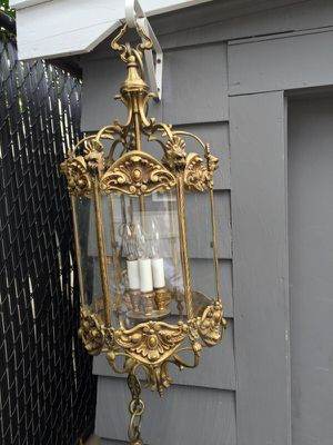 Brass antique French hanging lamp for Sale in Boston, MA