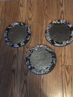 Set of three wall art you get all three for $10 10 inches across round mirror for Sale in Modesto, CA