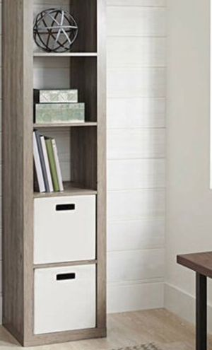 New!! Bookcase, 5 cube bookcase, bookshelves, organizer, living room furniture, storage unit. , rustic gray for Sale in Phoenix, AZ