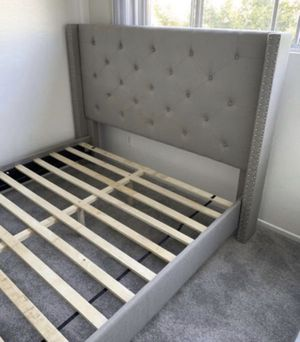 New Light Gray Platform Bed Frame : Twin • Full • Queen • King • Cal King : Mattress Set Sold Separately : No Box Spring Required for Sale in San Leandro, CA