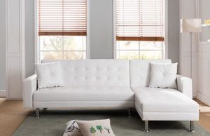 """Modern white bonded leather sectional sofa sleeper 99.5""""x 61""""x 31""""H for Sale in Los Angeles, CA"""