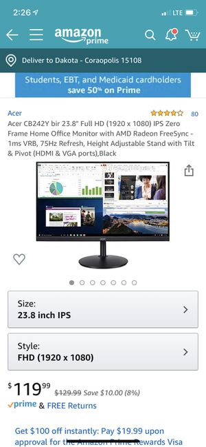 """ACER CB2 23.8"""" Monitor NEW for Sale in Coraopolis, PA"""