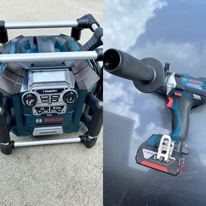 Bosch 18v Powerbox radio/charger and 18v brushless hammerdrill for Sale in Lutz, FL