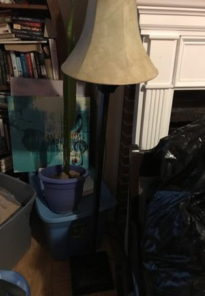 Brown Floor Lamp with Beige/Gold Shade for Sale in Raleigh, NC