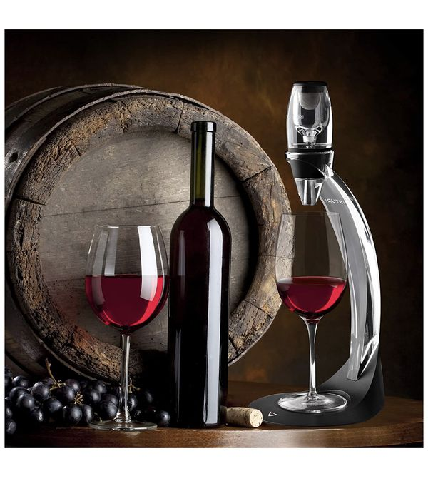 Vinturi Deluxe Essential Red Pourer and Decanter Tower Stand Set Easily and Conveniently Aerates Wine by the Bottle or Glass and Enhances Flavors wit