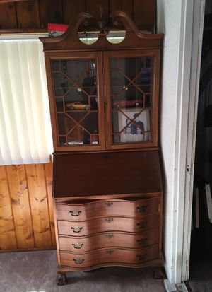 Antique Secretary desk wood ball claw feet four drawers pull out desk glass case display good condition brown for Sale in Buena Park, CA