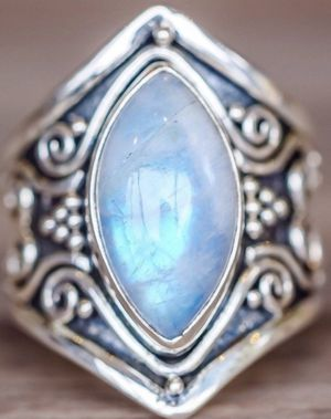 Large Boho Solid 925 Sterling Silver natural Gemstone Marquise Moonstone ring. for Sale in New Braunfels, TX