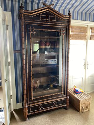 Antique faux bamboo display armoire for Sale in Newport Beach, CA