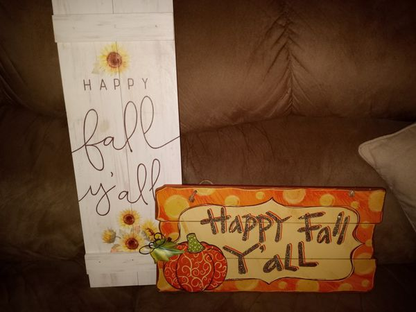 Happy fall y'all signs. $30 for both. Tags attached