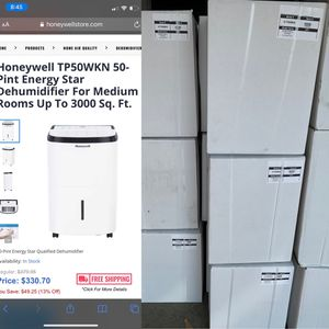 Honeywell TP50WKN 50-Pint Energy Star Dehumidifier For Medium Rooms Up To 3000 Sq. Ft for Sale in Dearborn Heights, MI