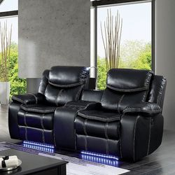 BLACK BREATHABLE LEATHER LOVESEAT RECLINERS STORAGE CONSOLE CUP HOLDER USB LED LIGHTS - SILLON RECLINABLE LUCES for Sale in Bell Gardens,  CA