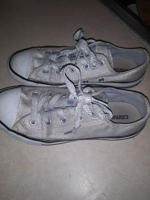Girls Converse All Star Shoes Size 2, Glittery Silver for Sale in Victoria, TX