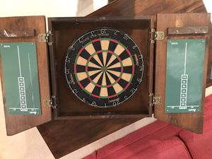 Dart Board in Wooden Game Cabinet for Sale in Bellevue, WA