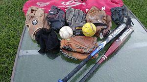 Baseball gloves , bats , bag , and balls for Sale in Houston, TX